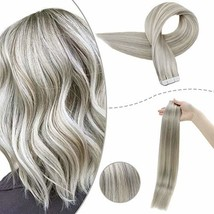 RUNATURE Pu Tape In Hair Remy Seamless Human Hair Extensions 14 Inches Gray Blon