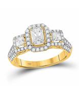 14kt Yellow Gold Emerald Diamond 3-stone Bridal Wedding Engagement Ring ... - £2,288.86 GBP