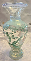 "Vintage Hand Painted Glass Vase Baby Blues and Pink Flowers 6 1/2"" Tall"