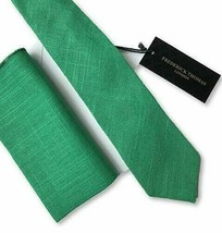 Frederick Thomas matching emerald green linen mens tie and pocket square necktie