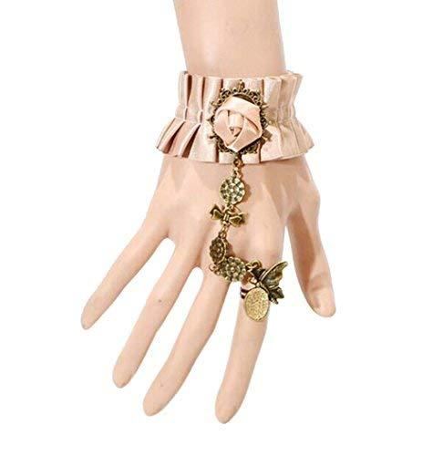 Complex Gulei Si Crystal Gemstone Bracelet Ring Jewelry, Brown Lace