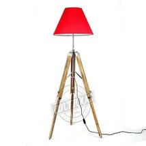 Classy Room Floor Lamp Stand Teak Wood Tri-Pod Corner Studio/Office Lamp... - $88.29