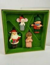 Hallmark 1978 Tree Trimmer Set Mouse Thimble Santa Angel Drummer Boy Ornament  - $39.55