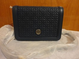 Tory Burch Bryant $495 Floral Quilted Hudson Bay Navy Blue Leather Cross... - $215.00