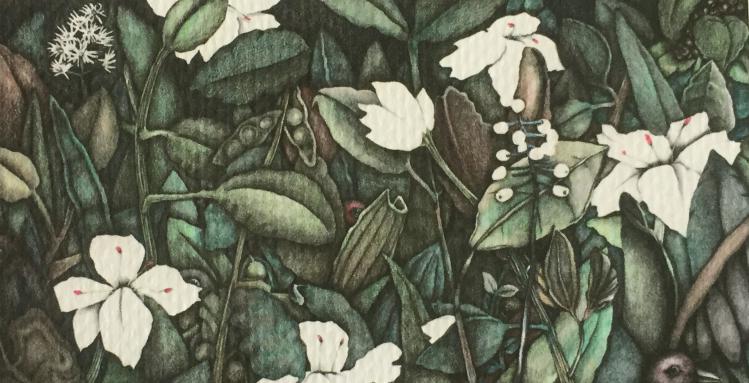 Large Floral/Bird Art Keychain - Birdland
