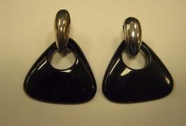 DANGLING PIERCED SILVER & BLACK COLOR EARRINGS - $4.94