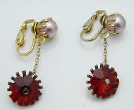 Pink Faux Pearl Red Rivoli Rhinestone Gold Tone Dangle Clip-On Earrings Vintage - $24.74