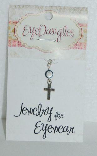 Eye Dangles Jewelry Eyewear Dark Blue Stone Silver Hanging Cross