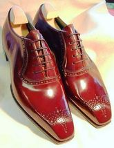 Handmade Men's Red Leather Heart Medallion Dress/Formal Oxford Shoesf image 1