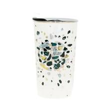 Starbucks Dot Shiny Green Gold Speckle Confetti Ceramic Mug Traveler Cup 12 oz - $48.50