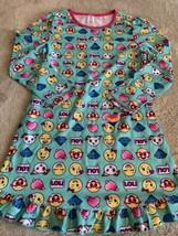 NEW Girls Teal Yellow Smiley Emoji LOL Heart Fleece Long Sleeve Nightgow... - $9.28