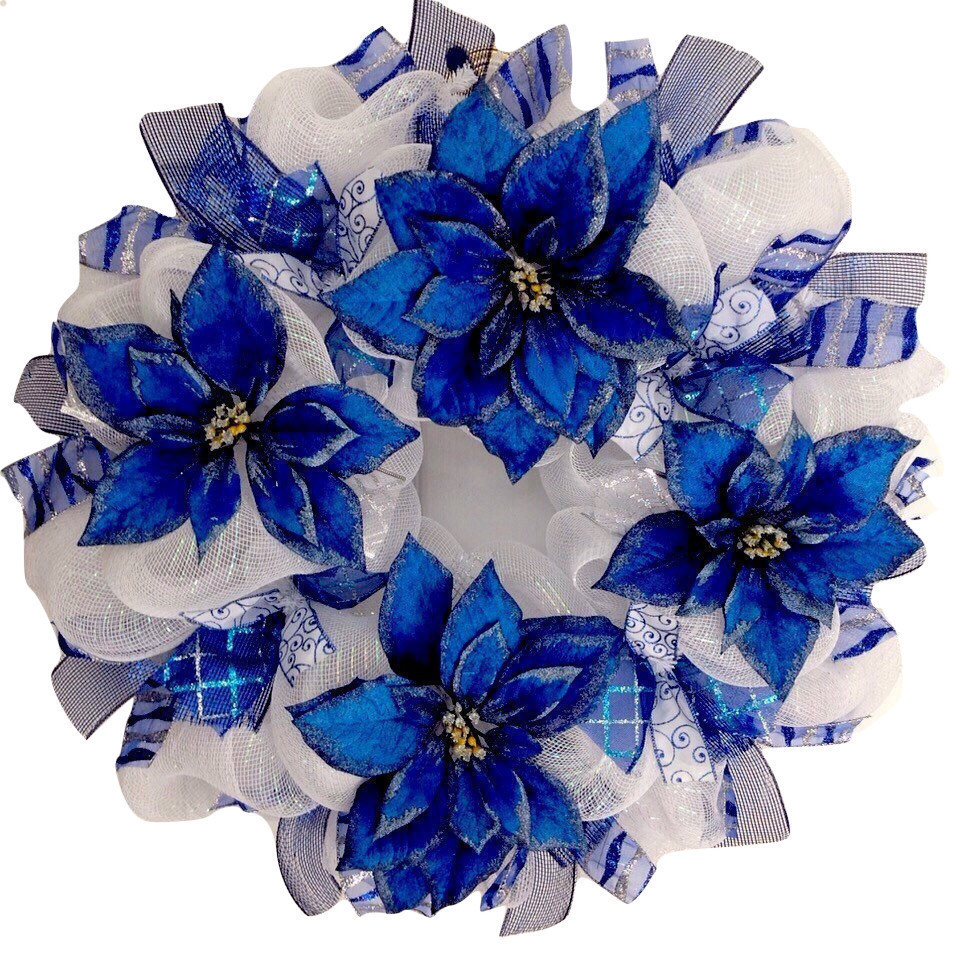 Primary image for Blue And Silver Hanukkah or Christmas Poinsettia Holiday Deco Mesh Wreath Handma