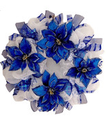 Blue And Silver Hanukkah or Christmas Poinsettia Holiday Deco Mesh Wreat... - $94.99
