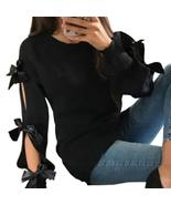 Women Knitting Bow Hollow Out Long Sleeve Warm Sweaters 2018 Female Girl... - $44.97+