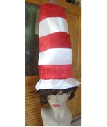 Cat in the Hat Dr. Seuss  top hat red white tall costume adu - $8.00