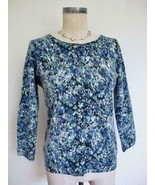 Talbots 100% Pure Cashmere Cardigan Sweater M Blue Green Abstract Floral... - $29.99
