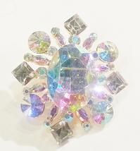 Vintage Style Gold AB Swarovski Crystal Brooch Pin - $39.00