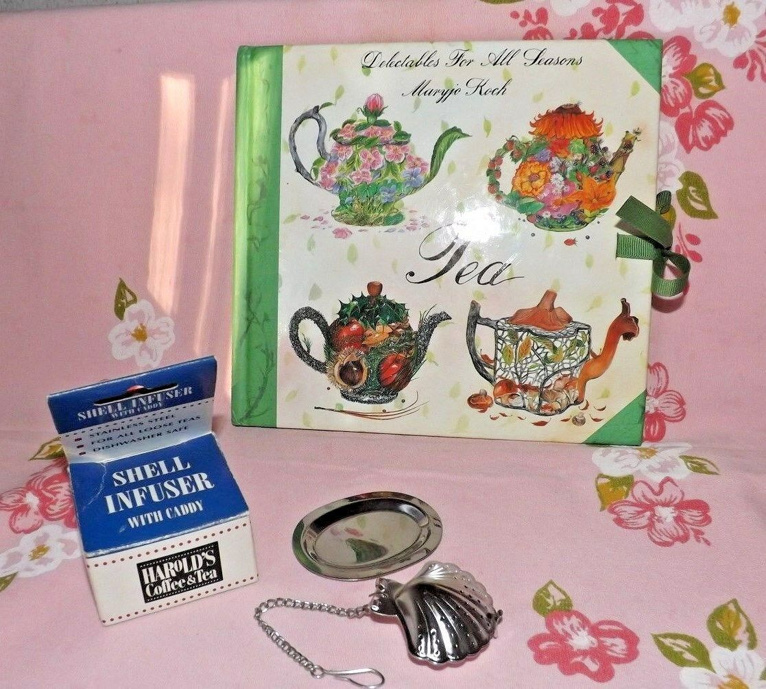 NEW STAINLESS STEEL SHELL TEA INFUSER WITH CADDY TRAY~BOOK ABOUT TEA~MARYJO KOCH - $19.75