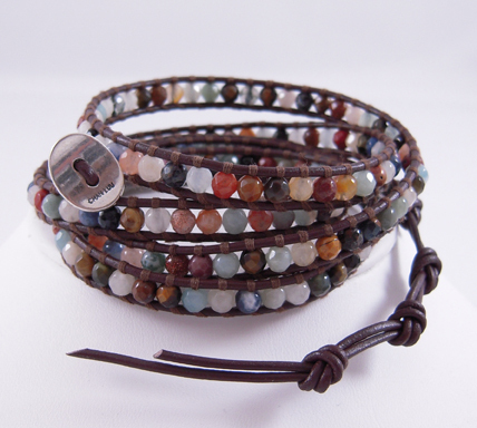 Primary image for Chan LUU Brown Multi Stone Wrap Bracelet NEW