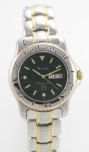 Bulova Marine Star Green Men's Stainless Silver Gold Day Date 100m Quart... - £46.77 GBP