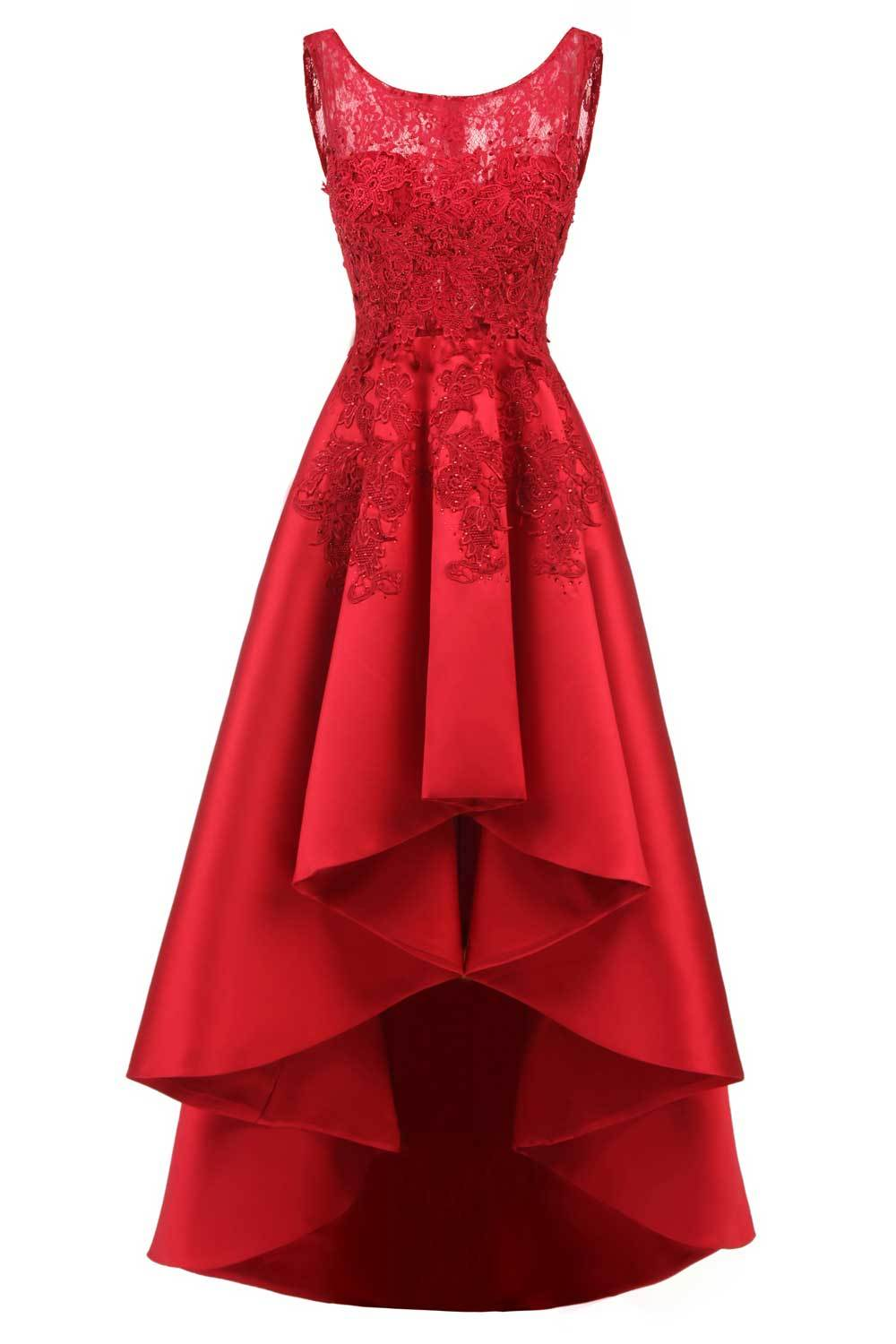 High Low Prom Dress Lace Applique Bridesmaid Dresses Sleeveless Homecoming Gown