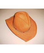 Monte Carlo Stampeder Orange Paper Genuine Panama Straw Men Adult Cowboy... - $49.49