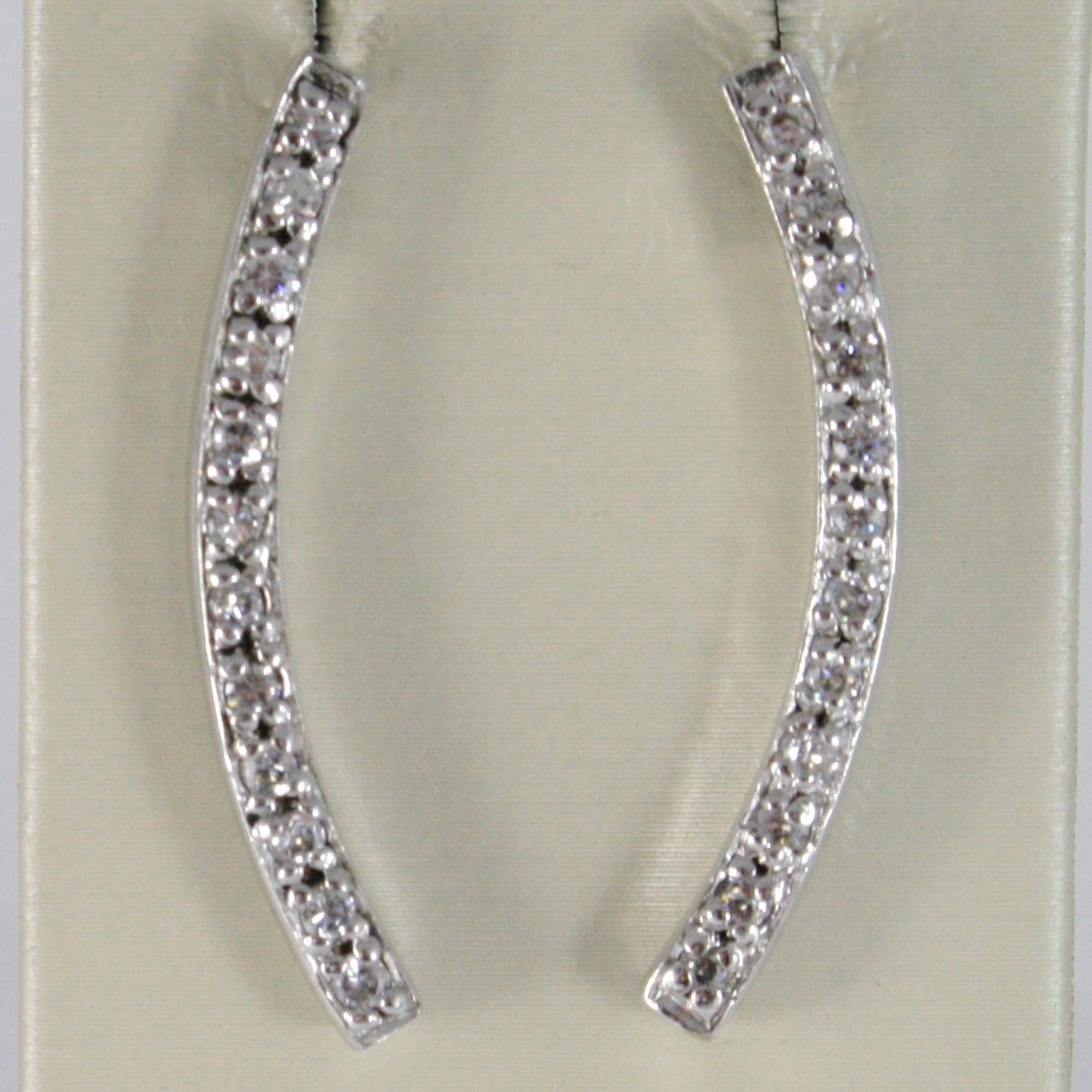 EARRINGS SILVER 925 TRIED AND TESTED WITH BAR LINE RIGID WITH ZIRCON CUBIC WHITE