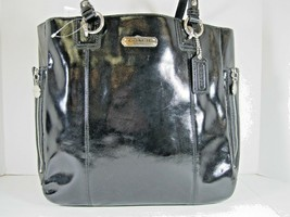 Coach NWT Black Patent Leather Medium Tote Gold Top Zip Baseball Stitched - $87.72
