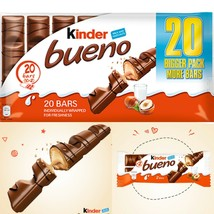 Kinder Bueno Milk Chocolate Covered Wafer With Milky And Hazelnuts 20 Bars - $17.27