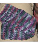 Knit Fine Wine Scarf 24 inches - Purple Blue Mu... - $10.00