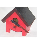 Miniature Birdhouse  Red Robin  Hand Painted - ... - $50.00