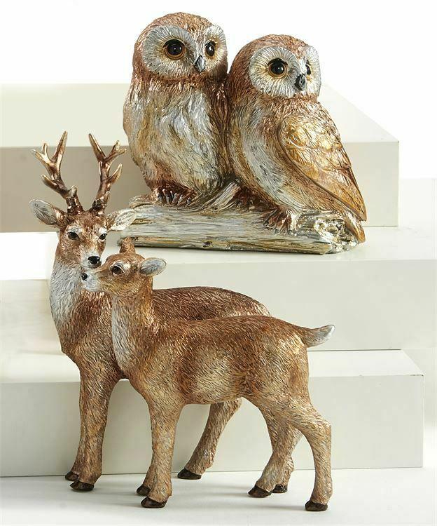 "Set of 2 - Owls & Reindeer Figurines Brown Gold & White Resin 7"""