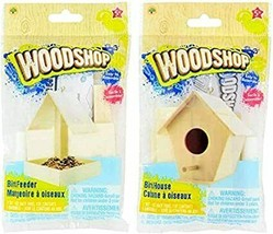 DIY Woodshop Wooden Bird House Bird Feeder Craft Kits * kids love * - $14.60