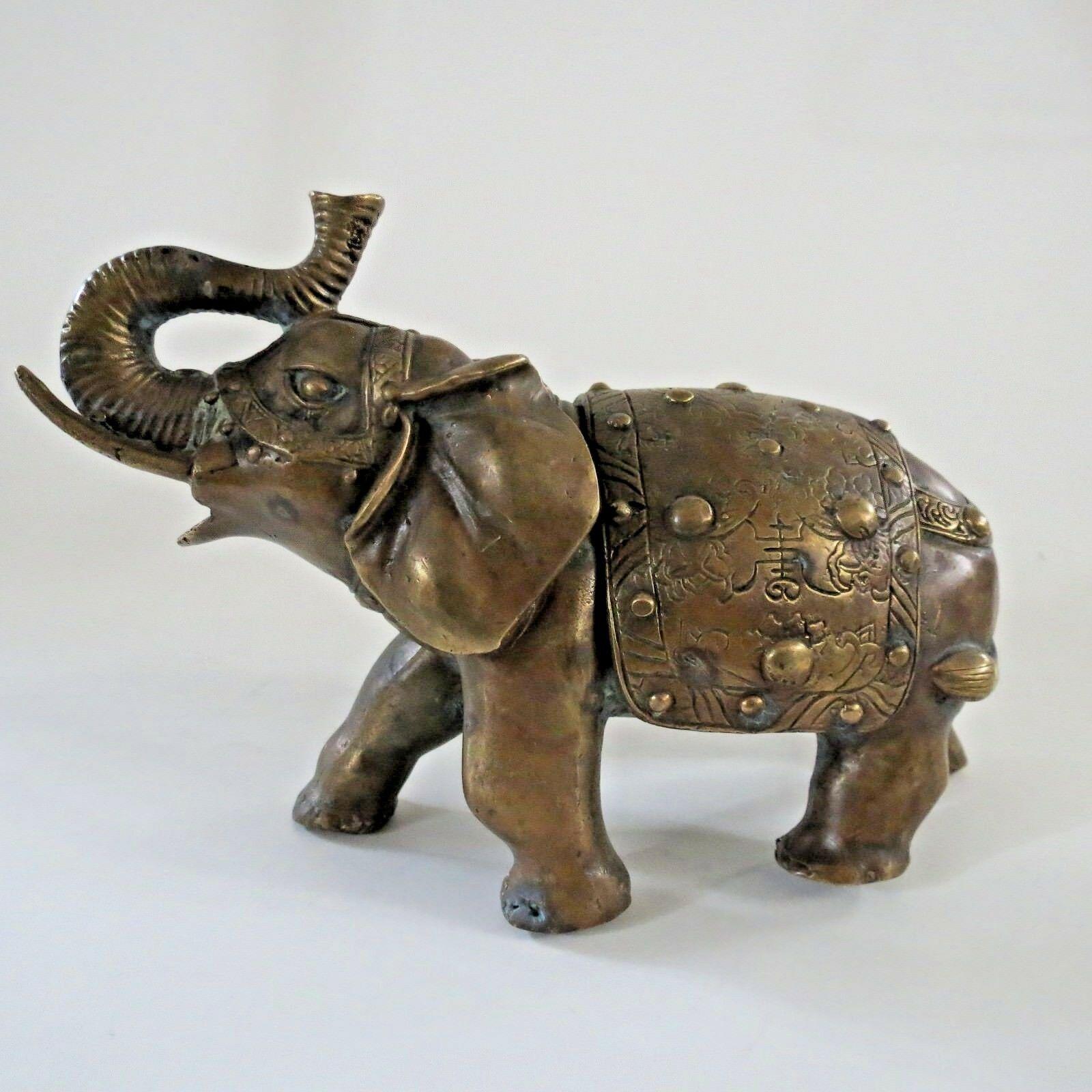 Bronze antique elephant figurine India Chinese 1890 Art Nouveau Divinity figure