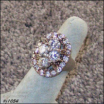 Silver 925 Ring with Clear Rhinestones and Marcasites Size 5 1/2 (#J1054) - $40.00