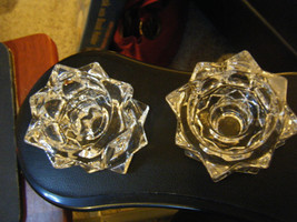 Pair of Mikasa Clear Glass Sparkling Star Shaped Taper & Tealight Candle... - $18.50