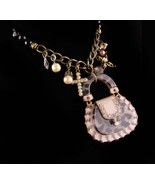 lucite Purse - large charm necklace - leopard handbag - rhinestone cross... - $95.00