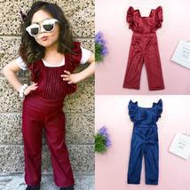 Toddler Kids Baby Girls Velvet Overalls Romper Bodysuit Jumpsuit Outfits... - $30.90
