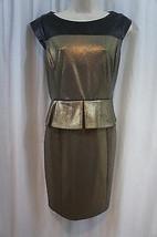 Cynthia Steffe Dress Sz 8 Black Gold Shimmer Peplum Evening Cocktail Dress - $79.17