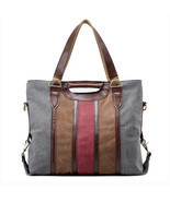 Women Contrast Color Canvas Tote Handbags Casual Shoulder Bags Crossbody... - €64,87 EUR