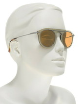 $350 Dolce Gabbana Round Mirror Sunglasses Pale Gold 48-26-145mm Made in Italy - $138.60