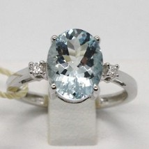 SOLID 18K WHITE GOLD BAND RING OVAL AQUAMARINE 2.5 CT & DIAMONDS, MADE IN ITALY