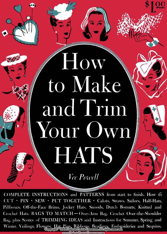 WWII Book How to Make Trim Hats Millinery Patterns 1944