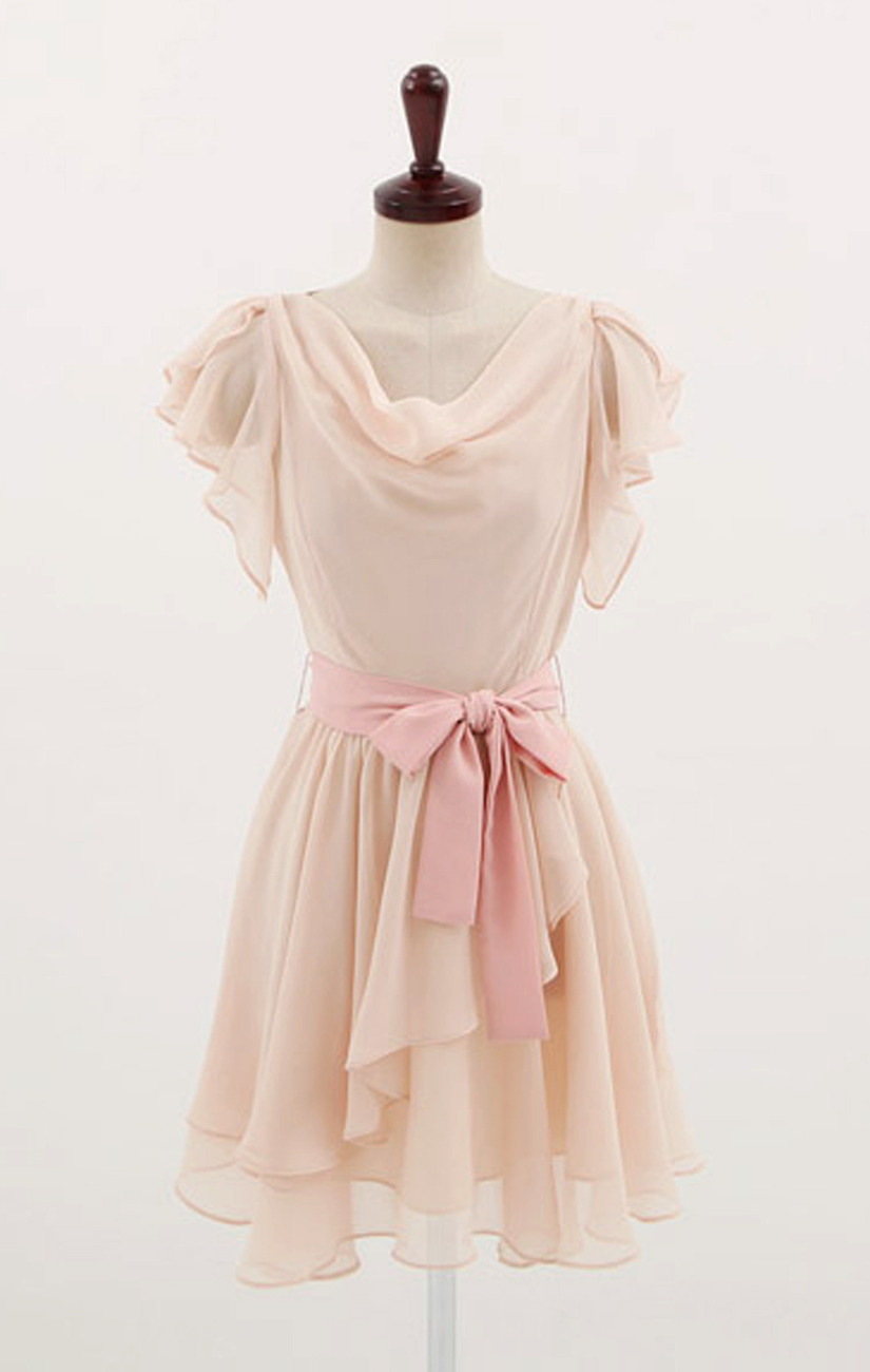 Sweet Butterfly Sleeves Cowl Neck Blush Pink Chiffon Dress ...