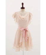 Sweet Butterfly Sleeves Cowl Neck Blush Pink Chiffon Dress. Bridesmaid D... - $90.90
