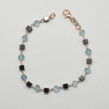 Silver Bracelet 925 with Aquamarine Faceted and Hematite Made in Italy - $57.73