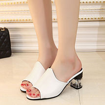 Party Sandals Toe Slipper Platform Chunky Peep summer Ladies Shoes Heel qYSnff