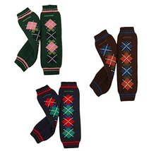 Set of 3 Fashion Rhombus Colour-Checked Baby Leg Wamers Comfy Leg Guards,1-3Yrs