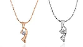 18k Yellow/white Gold Plated Necklace_ Twist Pendant w/t Swarovski Stone... - $16.99