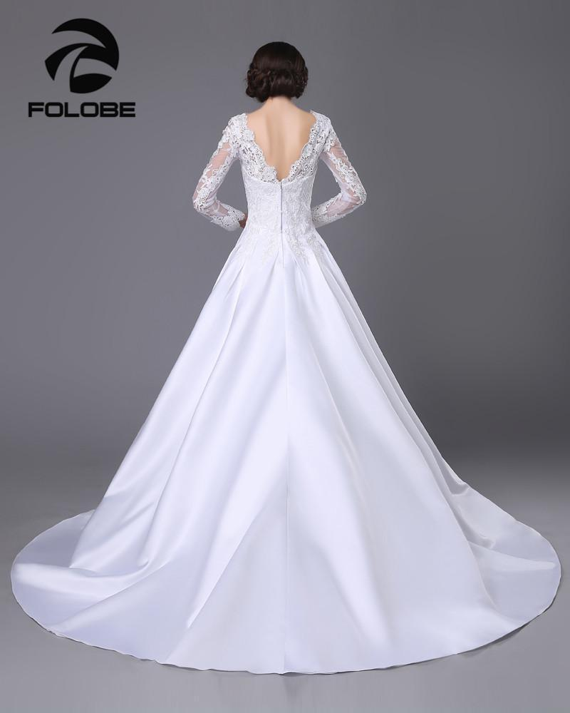 Satin and lace Long Sleeve A-Line Wedding Dress at Bling Brides Bouquet image 2